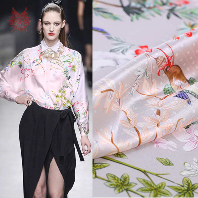 Pastoral floral positioning print spandex silk fabric for dress shirt tissue cloth tela tejido 19mm SP5018 FREE SHIPPING
