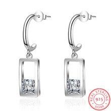 цена на Geometric Square Earrings Zircon Waterdrop Shaped 925 Sterling Silver Earrings For Women Oorbellen Brincos De Prata