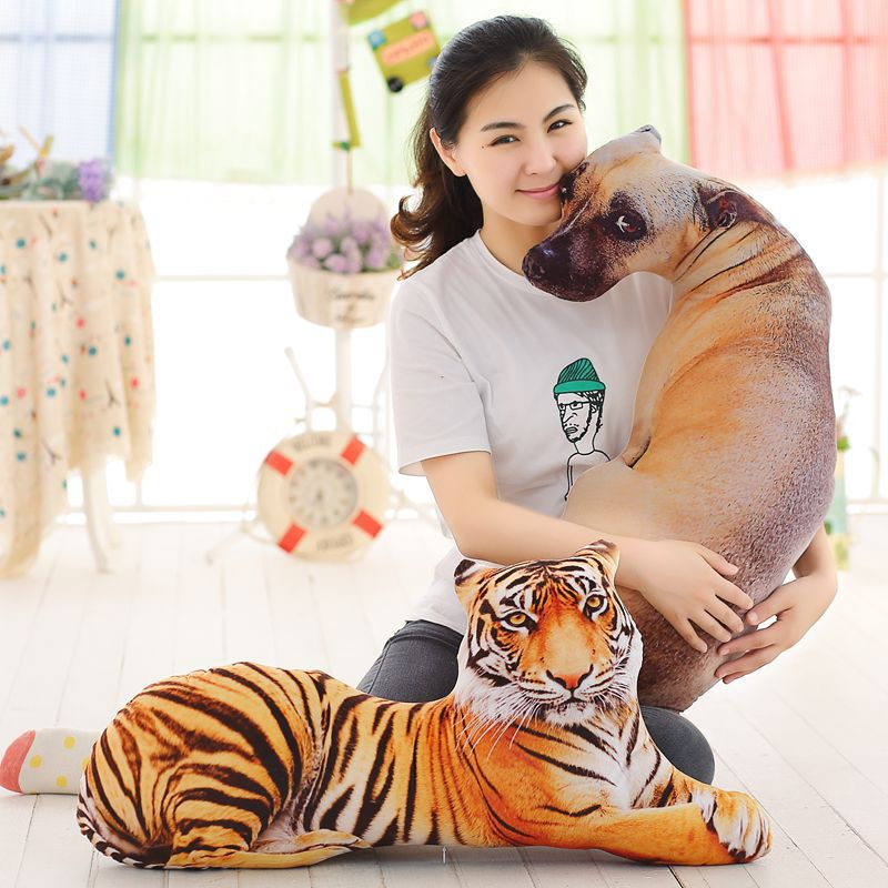 3D Dimensional simulation prone tiger /dog plush toy large