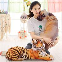 Dimensional 3D simulação propenso tiger/brinquedo de pelúcia do cão grande 50 cm lance macio travesseiro, almofada de presente de aniversário