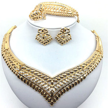 F&Y Dubai gold color Jewelry Sets Nigerian Wedding Necklace Earrings Bracelet Ring African Beads Accessories