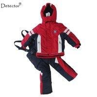 Detector Winter Thicken Baby Winter Clothing Set Ski Suit Set Outdoor Snowboard Jacket Pants Twinset Suitable
