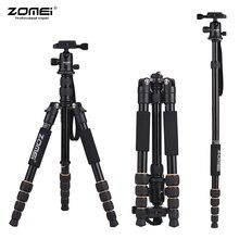 Zomei tripe portátil q100 q111 q555 q666 q666c, câmera tripé para viagem, câmera canon, nikon, sony, dslr tripé com tripé