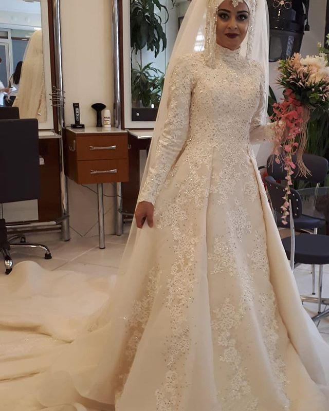 2019 Dubai Arabic Wedding Dresses Lace Appliques Off: 2019 A Line Wedding Dresses Muslim Long Sleeve Lace
