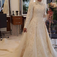 kejiadian 2019 A Line Long Sleeve Train Wedding Dresses