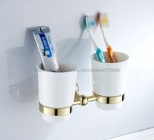 Luxury Gold Color Brass Toothbrush Holder Bathroom Accessories Ceramic Cup Wall Mount Nba880