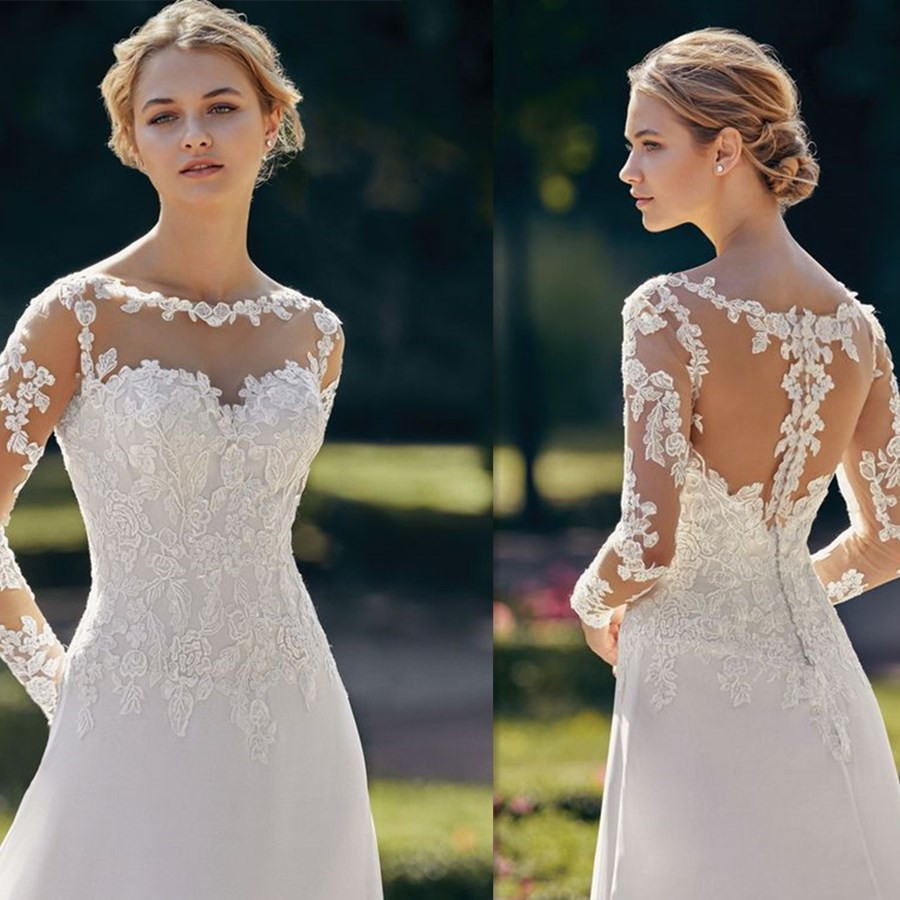 Soft Chiffon A-line Sweep Train Wedding Dress With Scoop Neckline Long Sleeves Button Lace Appliques Tulle Back Bridal Dress