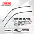 "Wiper Blade for Mercedes Benz Vito W639 (2005-2013) 1set 28""+26"",Flat Aero Windscreen Wiper Frameless Soft Boneless Blades"
