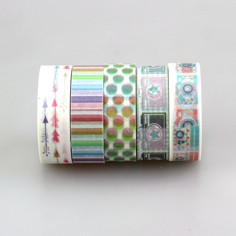 15mm * 10m Kawai 1pcs/lot Tape Patterns of camera , arrow, stripes and Rainbow Dots Japanese Paper Washi Tape Masking Tape 10m 586 patterns hot 30pcs lot tape flowers chevrons print deco diy adhesive masking tape japanese washi tape paper 10m wholesale