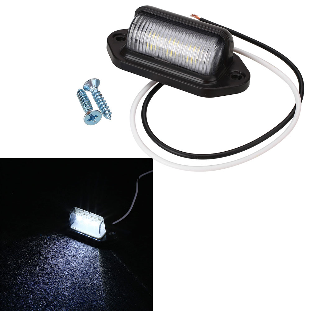 6LED 10-30V Truck Number Plate Light License Tail Light Step Lamp Tag Light White For Boat RV Motorcycle Trailer Lorries Caravan(China)