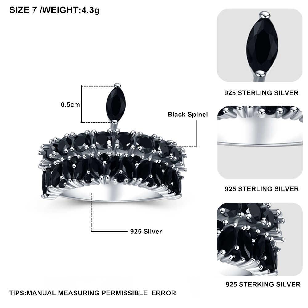 2019 New bijoux Rock 925 Sterling Silver Gioielleria Raffinata Nero Spinello Anello di Fidanzamento per Le Donne Anillos Mujer G060