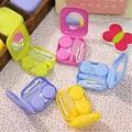 1 pcs Venda Quente Colorido Mini Bolso Contact Lens Caso Box Titular Container De Armazenamento Conjunto de Viagem
