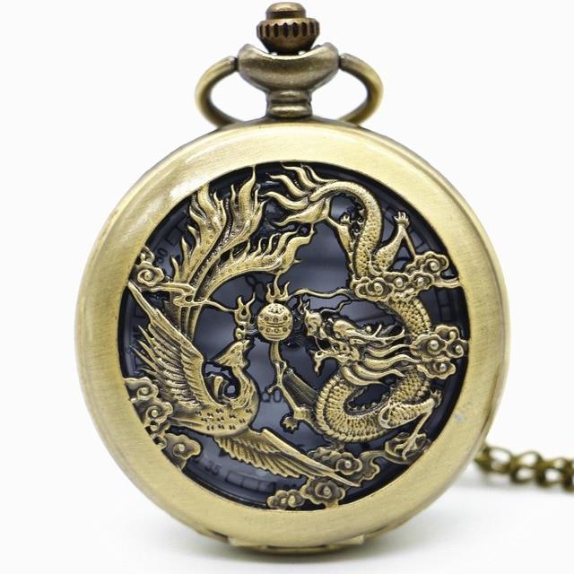 Vintage Phoenix Dragon Hollow Quartz Pocket Watch With Pendant Necklace Gift For