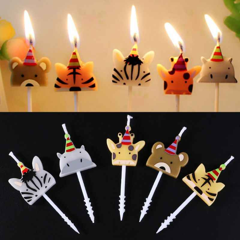 5Pcs/set Cute candle zoo party shape Carnival animal birthday candles