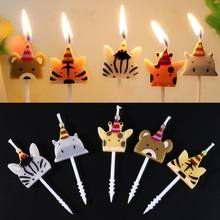 5Pcs/set Cute candle zoo party shape Carnival animal birthday candles(China)