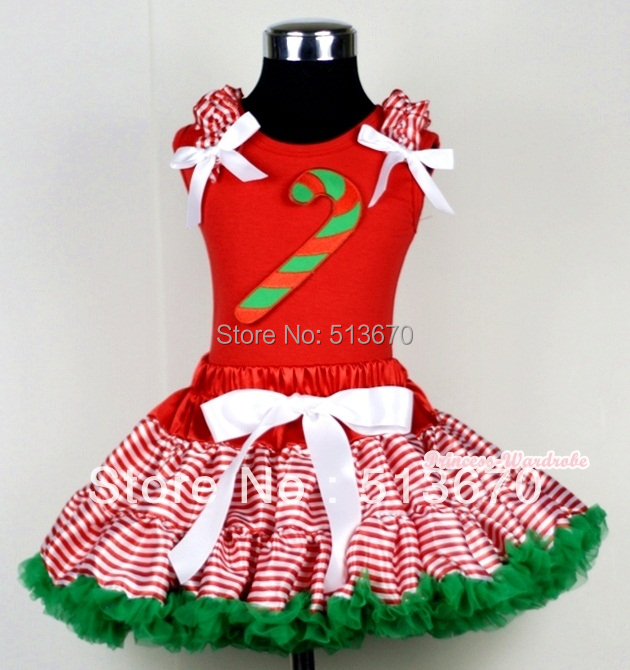 XMAS Red White Streak Pettiskirt Red Top Ruffle Bow with Candy Stick Set 1-8Year MACM119 red black 8 layered pettiskirt red sparkle number ruffle red bow tank top mamg575