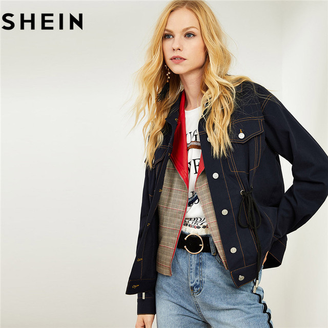 bf7f773e62 SHEIN Solid Cotton Navy Women Streetwear Denim Jacket Spring Autumn Lace Up  Design Studded Pocket Front Casual Jean Jackets Coat