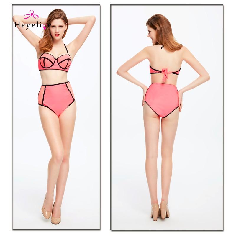 Mesh High Waist Bikinis Sexy Perspective Swimwear Women Push Up Swimsuit Top Halter Bathing Suit Padded Biquinis Bikini Set 11