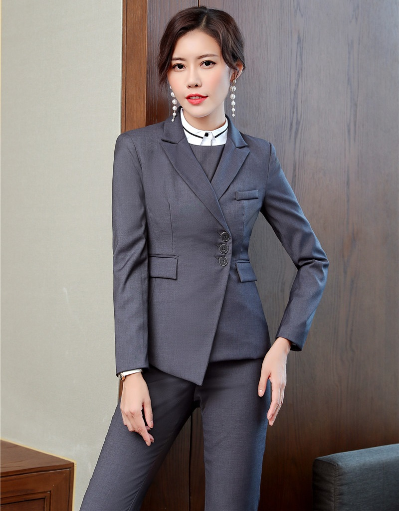 High Quality Fabric 2018 Fall Winter Formal Pantsuits With Tops And Pants Uniforms Designs Women Blazers & Jackets Clothing Sets