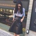 Moda Elegante Negro Cuero de LA PU de Una Línea de Falda de Las Señoras de Cuero de Talle Alto Hasta La Rodilla Falda con Bolsillos