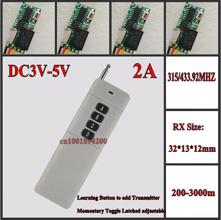 DC5V Remote Control Switch ON OFF Relay Wireless Switch Receiver Transmitter Mini 30*13*12mm Momentary Toggle Latched 315MHZ