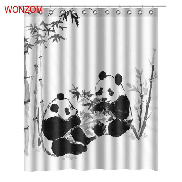 Online Shop WONZOM 3D Panda Shower Curtains With 12 Hooks For Mildewproof Leaf Bathroom Decor Modern Bamboo Bath Waterproof Curtain Gift