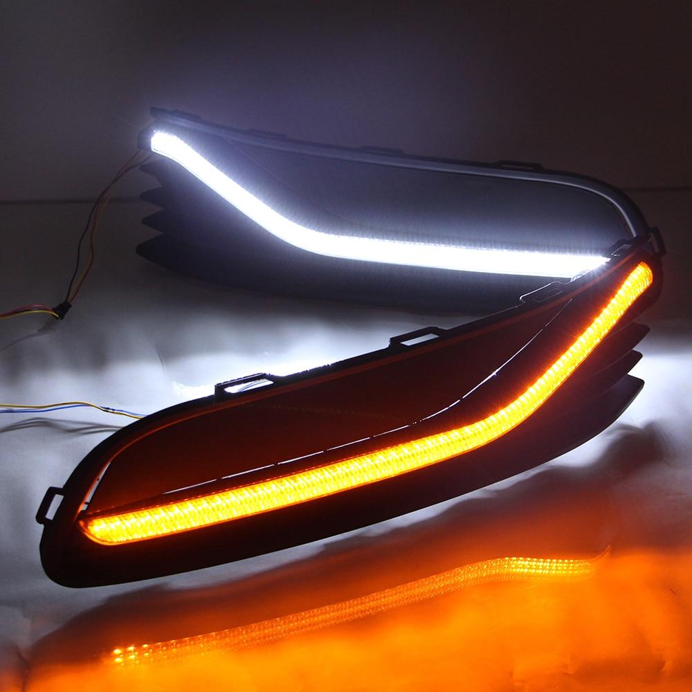 СИД DRL для Фольксваген поло 2014~ 2016 дневные ходовые огни внешние дневного света сигнала поворота света туман лампы 12V Сид DRL автомобиля