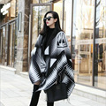 Women scarf winter ponchos and capes plus size black white shawls wraps geometric print pashmina femme blanket fashion cardigans