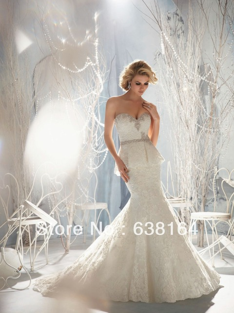 Fashion New Sweetheart Mermaid Ivory Lace Beaded Chapel Train ...