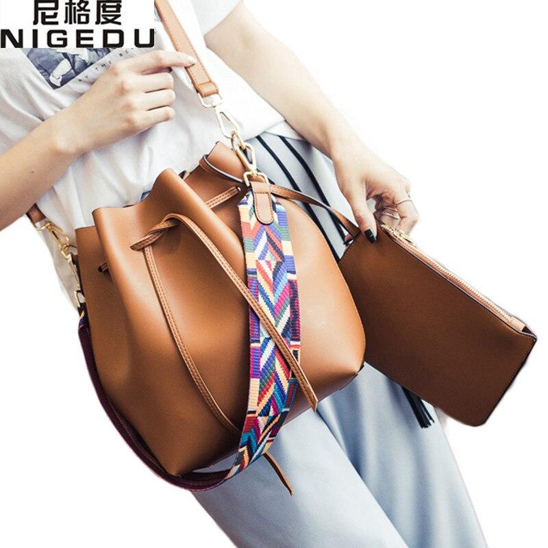 Fashion color Strap bucket bag Women High Quality pu Leather Shoulder Bag Desing