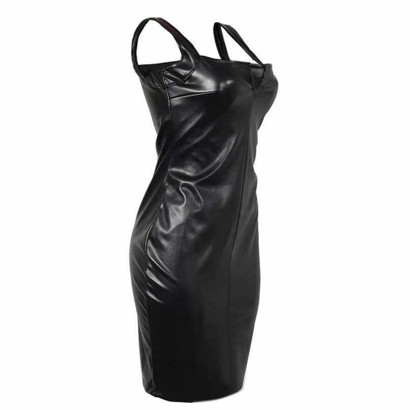 2018 패션 섹시한 여성 pu 가죽 블랙 드레스 메쉬 민소매 터틀넥 clubwear 파티 드레스 vestidos verano # f #40sp25