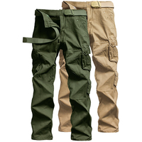 Autumn men's trousers 2019 hot fashion straight overalls pants multi pocket waist loose trousers solid color sport Fitness pants