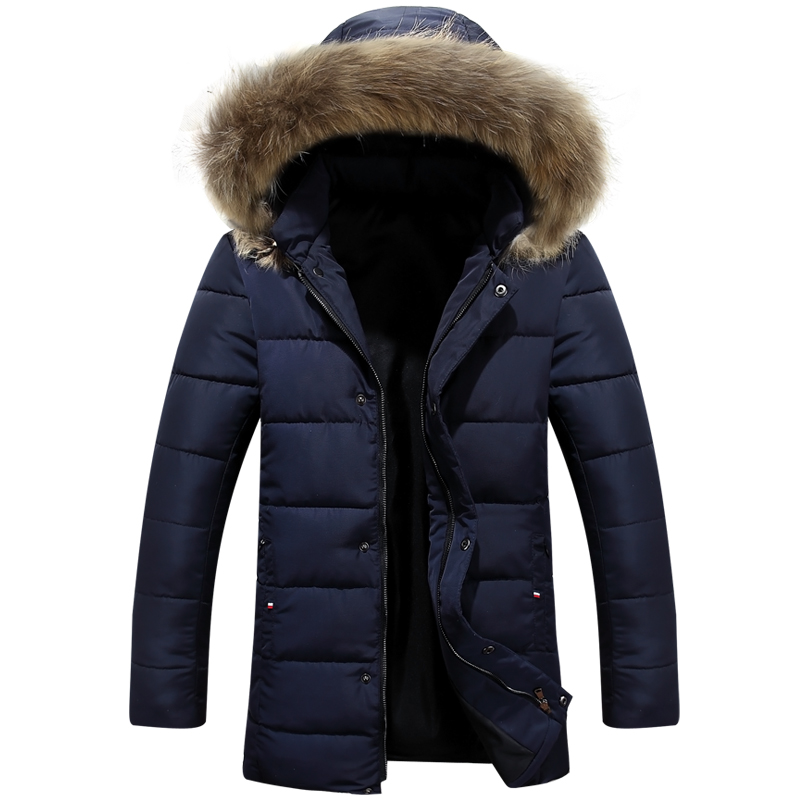 ФОТО 2016 winter new men leisure collars hooded cotton-padded clothes Youth fashion joker warm coat