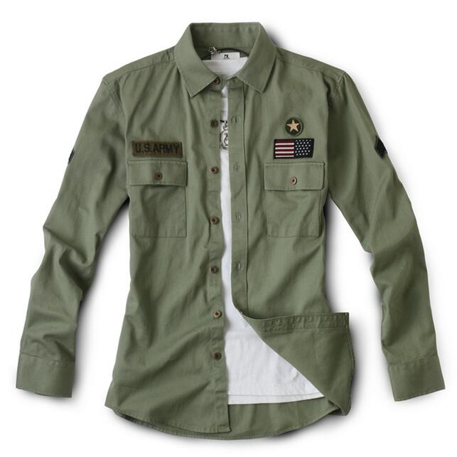 Military Style Men Army Green Casual Shirts New 2017 Mens Army Shirt With Chest Flap Pockets