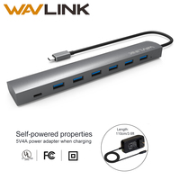 Wavlink USB 3.1 Type C to7 ports USB HUB High Speed 5 Gbps Type C & Type A Multi Dock Aluminum For Ultrabook PC Laptop Macbook
