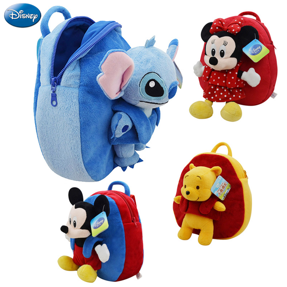 27cm Disney Backpack Mickey Mouse Minnie Winnie The Pooh Lilo and Stitch Piglet Cute Girl Children Schoolbag Animal Plush Toy disney toddler girl s minnie mouse pink socktop slipper