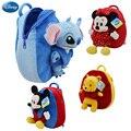 Origina disney winnie the pooh mochila schoolbag mickey mouse minnie boneca lilo e stitch 27 cm bonito da menina crianças do menino schoolbag