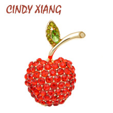 CINDY XIANG Red Rhinestone Apple Brooches For Women Cute Small Fruit Brooch Pin Summert-shirt Fashion Jewelry High Quality New