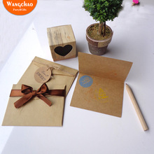 6pcs/bag Vintage Kraft Paper Gift Card Happy Birthday Greeting Cards Wedding Invitation Thank You Cards with Envelopes 7 Designs цена
