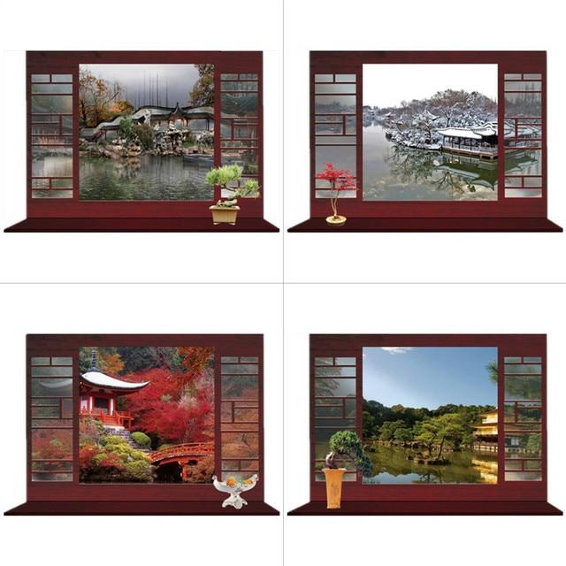 Seasons Landscape fake window stickers Garden scenery 3d wall art ...