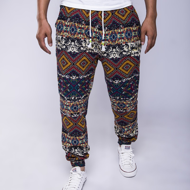 BO 2020 Ethnic Wind Cotton And Linen Loose Tether Men's Trousers Fashion And Comfortable Printed Trousers
