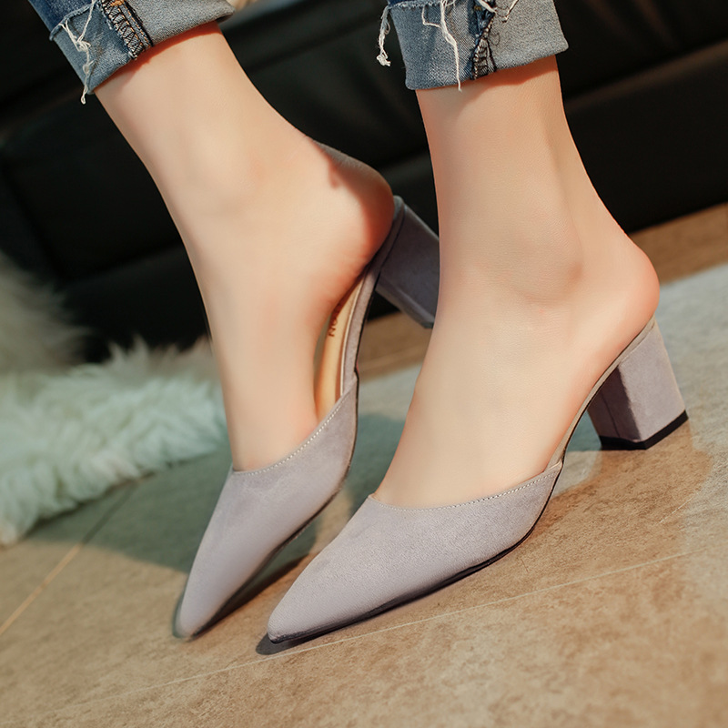 Women Shoes Summer Fashion Flip Flops Mules Shoes High Heel Slippers Woman Pointed Toe Ladies Female Slides Platform Slippers