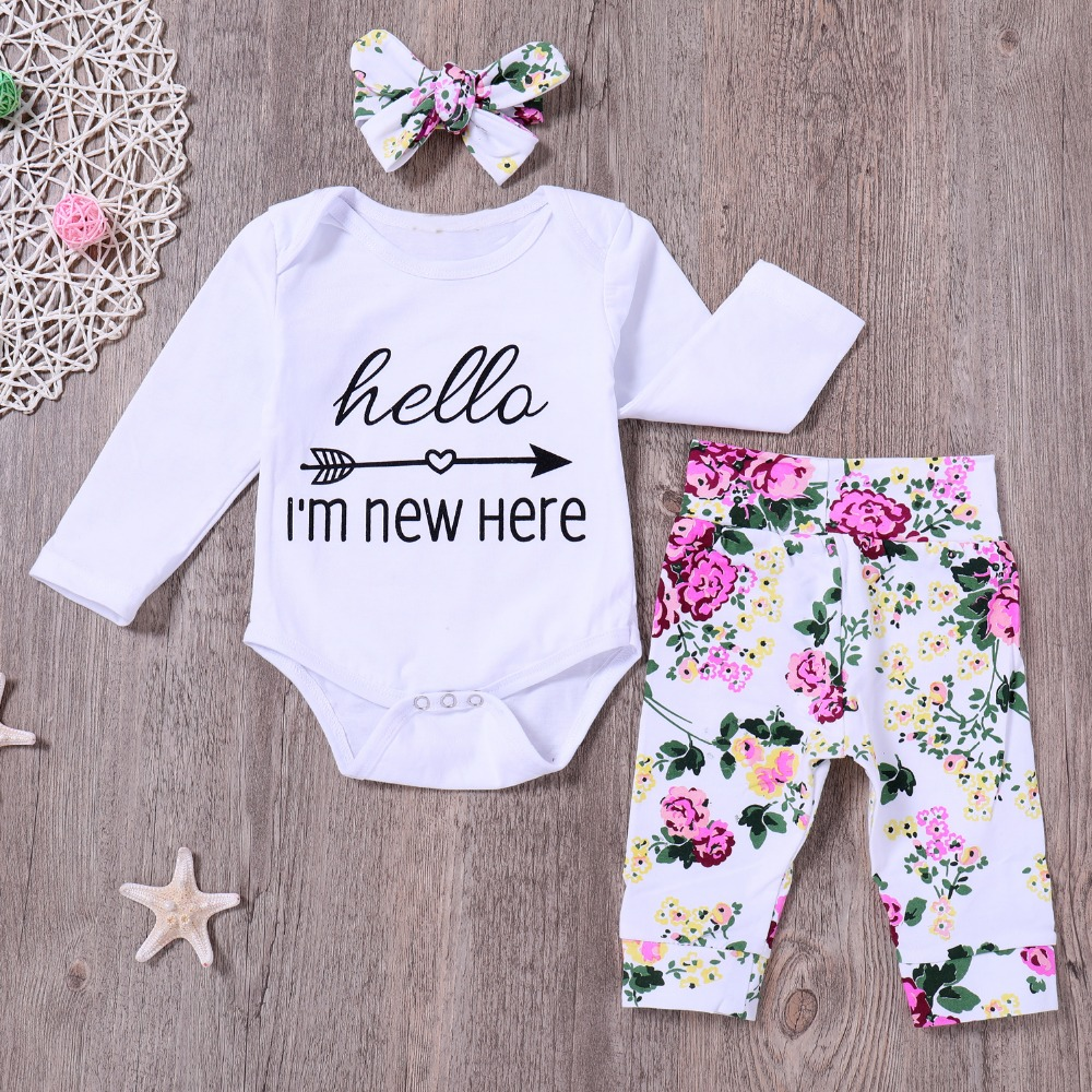 3Pcs Infant Newborn Baby boy Girls Hello World Romper Tops+Pants Clothes Outfit Sets