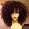 Afro rizado peluca rizada del frente del cordón brasileño rizado rizado sin cola llena del cordón pelucas de cabello humano con flequillo peluca rizada del pelo humano