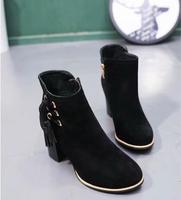 2018 winter new Korean women's boots tassel boots with thick retro wild Martin boot