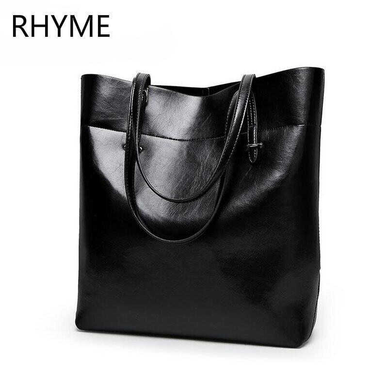 ФОТО RHYME Leather Women Bucket Bag Shoulder Solid Big Handbag Large Capacity Top-handle Bags New Arrivals