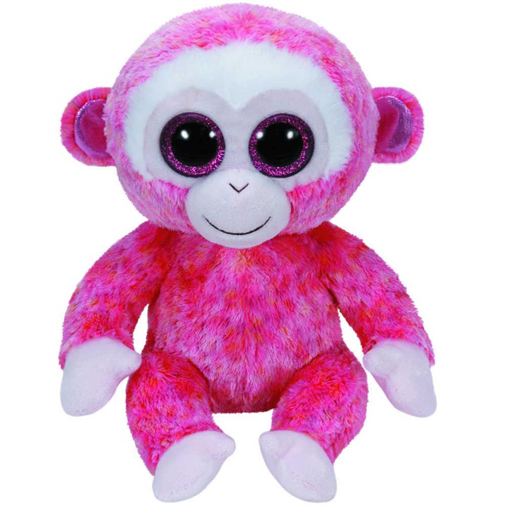 """Pyoopeo Оригинал Ty Boos 10 """"25 см рубиновый розовый Плюшевая обезьянка средней мягкости с большими глазами мягкая коллекция животных кукла игрушка с биркой в виде сердца"""