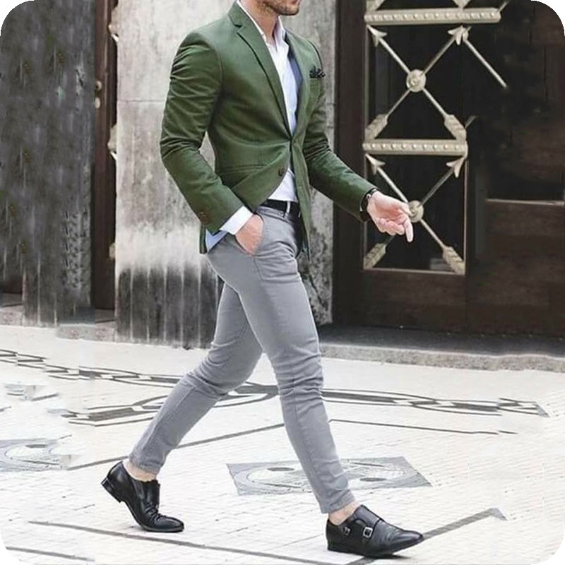 Custom Made Green Men Suits Groom Wedding Tuxedo Slim Fit Man Blazer Peak Lapel 2Piece Coat Pants Costume Homme Terno Masculino