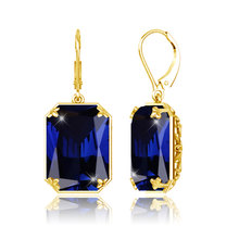 Szjinao dropshipping 2019 gold long Birthstone earrings for women wedding Jewelry sapphire 925 Sterling Silver Earrings