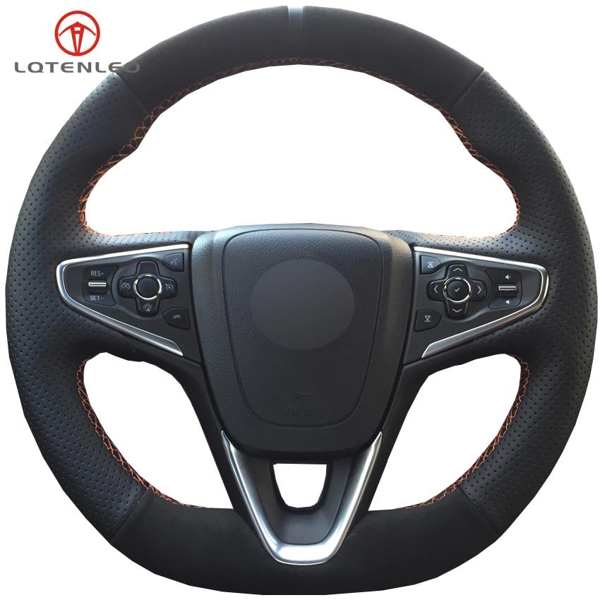 LQTENLEO Black Genuine Leather Suede Car Steering Wheel Cover For Opel Insignia GrandSport 2014 2018 Buick
